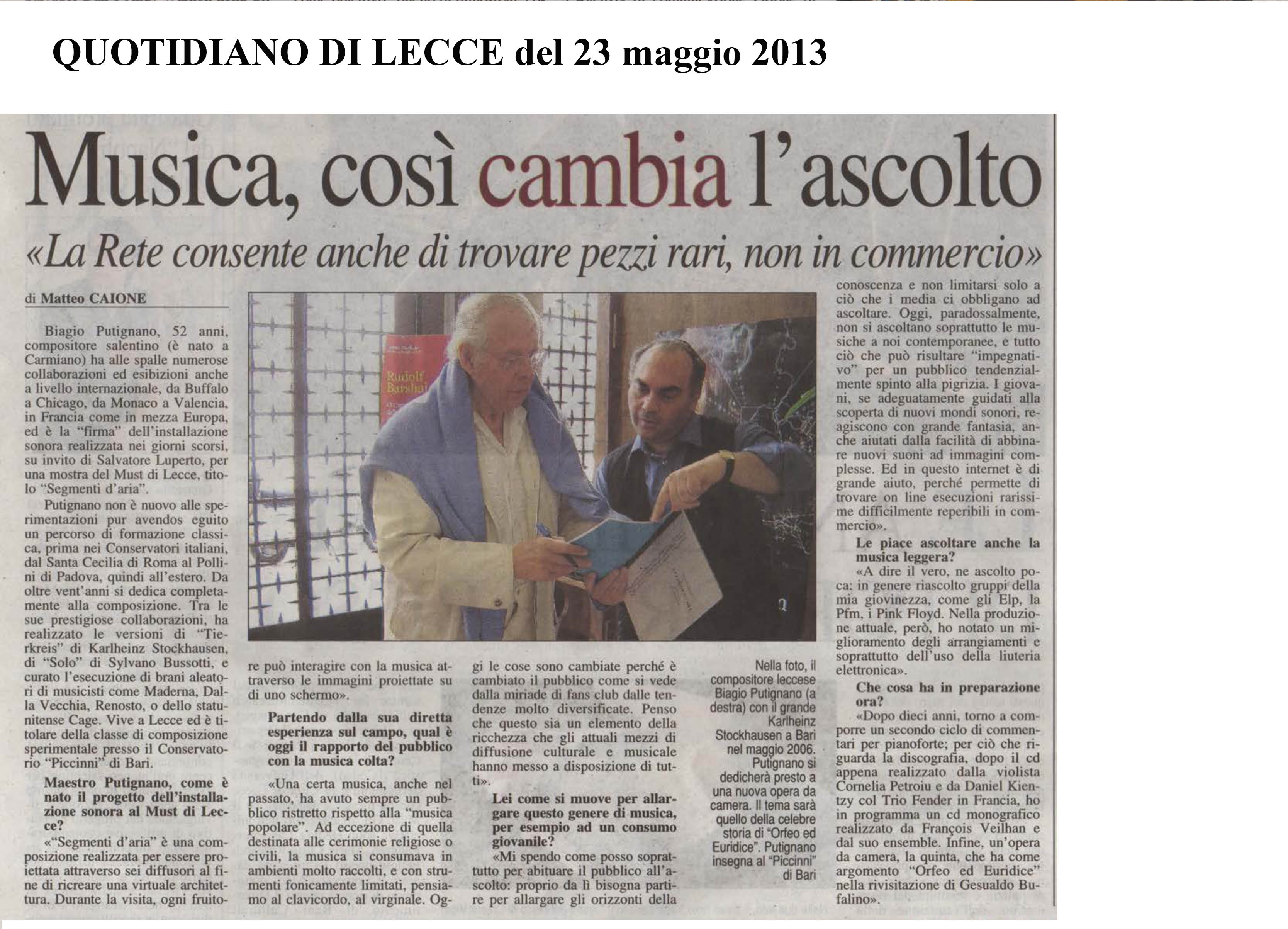 intervista quotidiano 23maggio2013